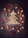 Braided Christmas Tree And Bell Dekorations Stock Image - 47193661