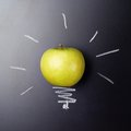 Apple Over The Blackboard Stock Photography - 47194152