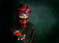 Woman In Turban With Red Chili Royalty Free Stock Image - 47196246