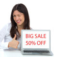 Woman With Modern Popular Laptop Display Showing Big Sale Shoppi Stock Photography - 47196932