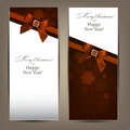 Greeting Cards With Brown Bows. Stock Photography - 47199892
