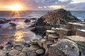 Sunset At Giant S Causeway Royalty Free Stock Photo - 47204475