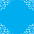 Blue Frame With White Floral Lace Border Stock Photography - 47207172