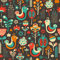 Colorful Seamless Pattern With Funny Birds And Flowers. Royalty Free Stock Image - 47208096