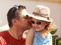 Loving Father Kissing His Happy Child Girl In Sun Glasses Royalty Free Stock Images - 47210829