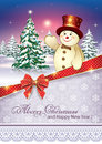 Greeting Card With A Christmas Tree And Snowman Royalty Free Stock Images - 47212129