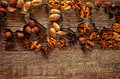 Christmas Background With Cookie Cutters, Nuts And Anisetree Stock Photography - 47217202