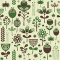 Vintage Seamless Pattern With Green And Brown Flowers. Stock Photography - 47218432