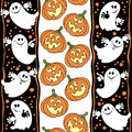 Halloween Seamless Background With Ghosts And Pumpkins. Royalty Free Stock Image - 47219106