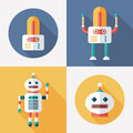 Robots Flat Round And Square Icons With Long Shadows. Set 15 Stock Images - 47237374