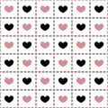 Seamless Pattern Of Pink And Black Hearts. Royalty Free Stock Images - 47240029