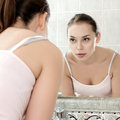 Young Woman Washing Her Face With Clean Water Royalty Free Stock Image - 47241416