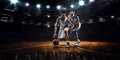 Two Basketball Players In Action Royalty Free Stock Photography - 47244897