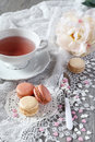 Valentine S Day: Romantic Tea Drinking With Macaroons Stock Photography - 47246232