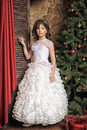 Girl In A Beautiful White Dress At The Christmas Stock Photos - 47250233