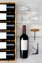 Wine Bottle Case And Glasses Royalty Free Stock Photography - 47265587