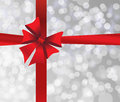 Grey Holiday S Background With Red Bow Stock Photo - 47266120