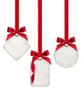 Collection Of Blank Gift Tags Tied With Red Satin Ribbon Bows Royalty Free Stock Photo - 47276295