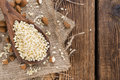Wooden Spoon With Minced Almonds Royalty Free Stock Image - 47308416