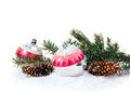 Christmas Decoration Of Christmas Trees And Cones Stock Photo - 47322240