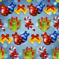 New Year Pattern With Tree Toys, Gift, Striped Candy And Christmas Bell Stock Photo - 47329460
