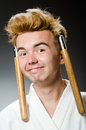 Funny Karate Fighter Stock Images - 47336214