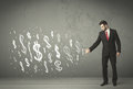 Young Business People With Hand Drawn Dollar Signs Stock Images - 47346004