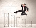 Fast Business Man Jumping Up On Hand Drawn Charts Stock Photo - 47346060