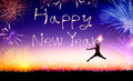 Man Jumping And Drawing The Happy New Year Stock Photography - 47346302