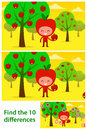 Kids Puzzle Printable With Cute Apples Iin Orchard Stock Images - 47346454
