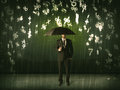 Businessman Standing With Umbrella And 3d Numbers Raining Concep Royalty Free Stock Images - 47346629