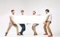 Casual Clothed Guys Carrying Huge Billboard Stock Photos - 47347943