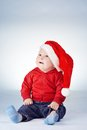 Cute Little Boy With Santa Hat Royalty Free Stock Photo - 47350005