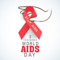 Human Hand With Red Aids Ribbon For World Aids Day Concept. Royalty Free Stock Photos - 47350918