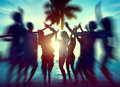 Dancing Party Enjoyment Happiness Celebration Outdoor Beach Conc Stock Photos - 47351523