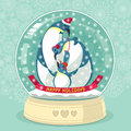 Snowing Globe With Penguin Family Inside Stock Photo - 47356660