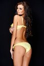Semi Rear View Of Sexy Woman In Yellow Underwear Royalty Free Stock Photography - 47356757