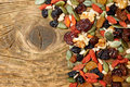 Mix Nuts Seeds And Dry Fruits, On A Wooden Table Stock Image - 47356921