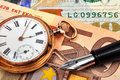 Gold Watch And Euro Bills Stock Images - 47395304