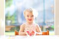 Little Girl Eating Delicious Strawberries Royalty Free Stock Images - 47407909
