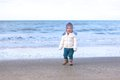Little Girl Playing On The Beach At Winter Royalty Free Stock Photography - 47407977