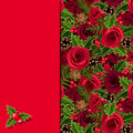 Christmas Card With Roses And Holly. Vector Eps-10. Royalty Free Stock Image - 47409336