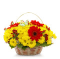 Beautiful Flowers In A Basket Isolated On White Stock Photo - 47414870