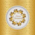 Christmas Seamless Card With Holly Wreath, Gold Stock Images - 47419024
