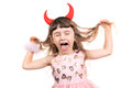 Little Girl With Devil Horns Royalty Free Stock Images - 47429009