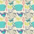 Tea Time Illustration With Flowers And Bird, Seamless Pattern Royalty Free Stock Photo - 47440035