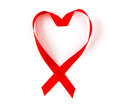 Aids Awareness Red Heart Ribbon Isolated On White Stock Images - 47453794