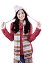 Cute Girl With Winter Fashion At The Studio Royalty Free Stock Photography - 47456477