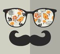 Retro Sunglasses With Reflection For Hipster. Stock Photography - 47458732