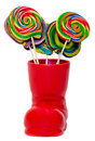 Santa Claus Red Boot, Shoe With Colored Sweet Lollipops, Candys. Saint Nicholas Boot With Presents Gifts. Stock Photos - 47463503